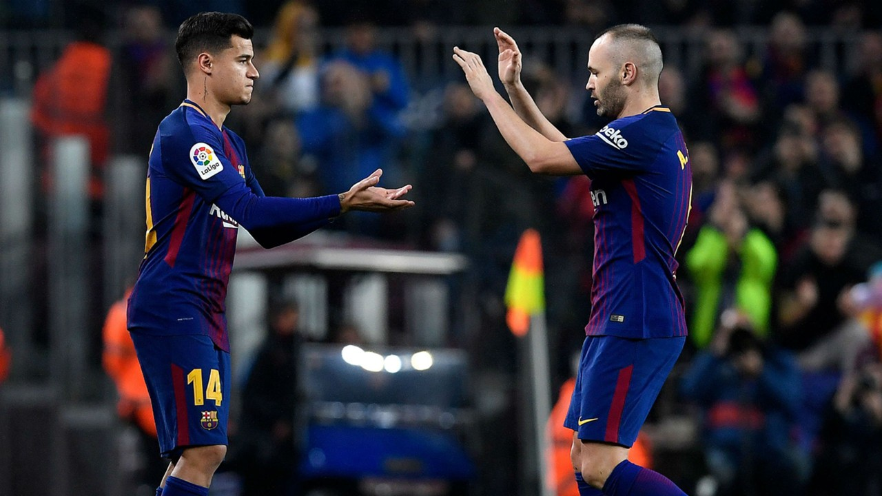 Image result for Philippe Coutinho with Iniesta