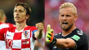 Luka Modric Croatia Kasper Schmeichel Denmark