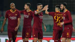 Roma celebrating Chievo Roma Serie A