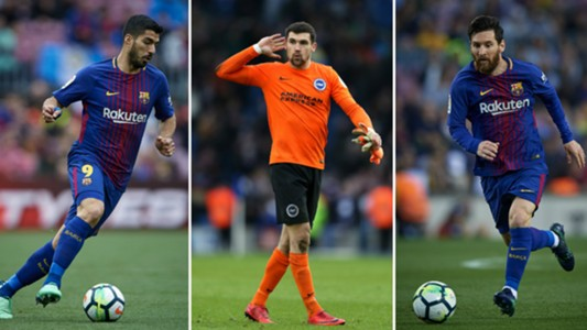 Luis Suarez/ Maty Ryan/ Lionel Messi
