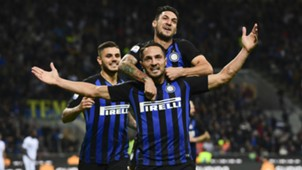 Inter celebrating Inter Fiorentina Serie A