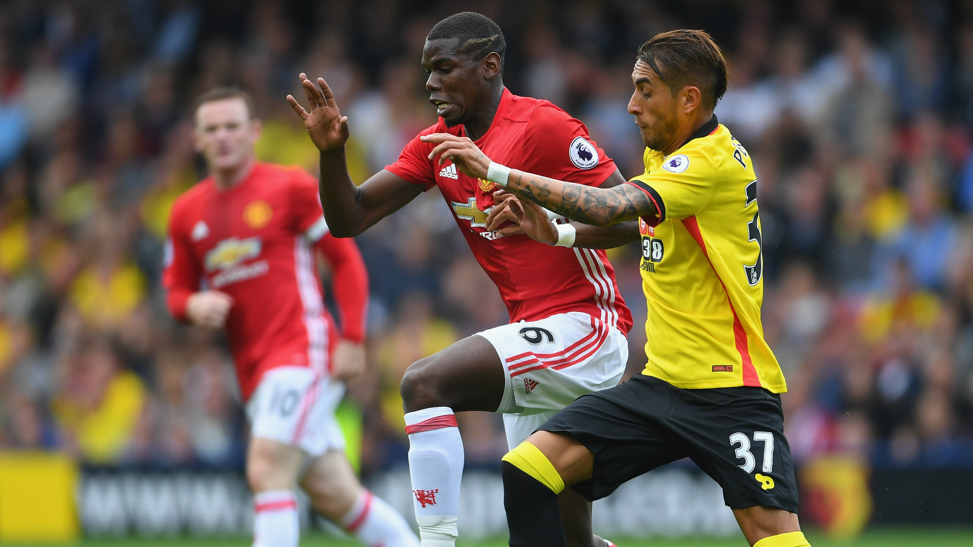 Paul Pogba and Roberto Pereyra, Watford v Man Utd, 2018