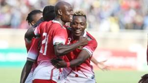 Dennis Odhiambo of Kenya and Harambee Stars v Aboud Omar.