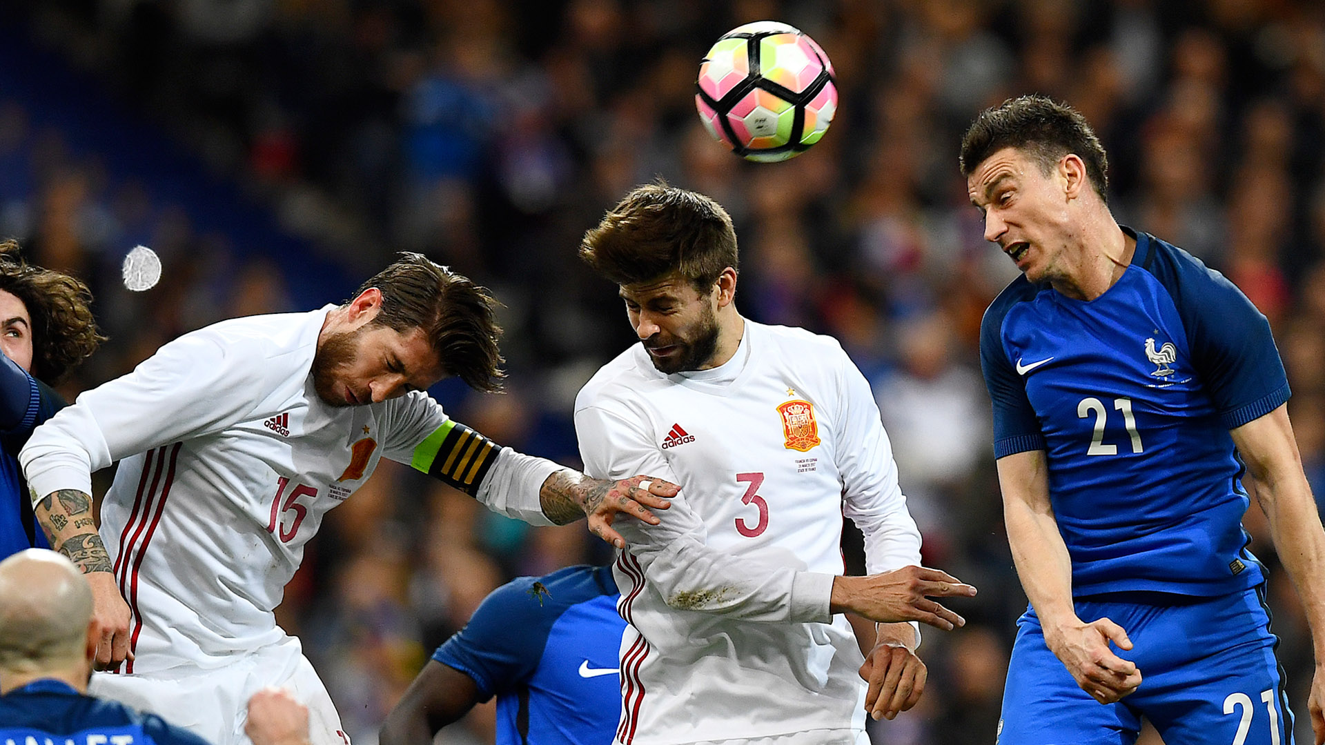 Ramos and Pique in action for Spain