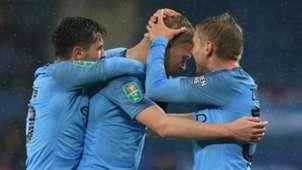 Man City celebrate vs Leicester