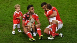 Neil Taylor Hal Robson-Kanu with their children Wales Belgium Euro 2016