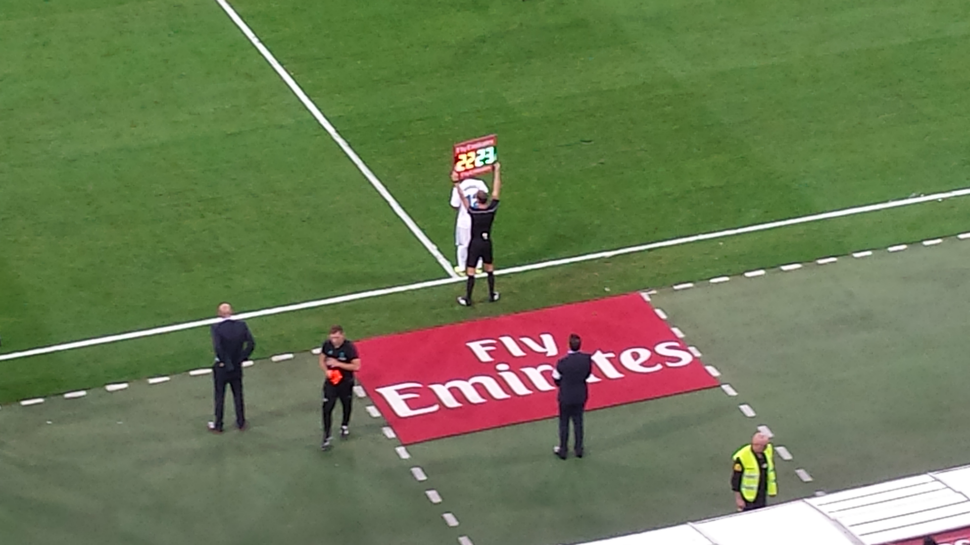 Marcelo taking part in a substitution at Santiago Bernabeu stadium