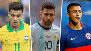 Philippe Coutinho Brazil Lionel Messi Argentina Alexis Sanchez Chile 2019 Copa America