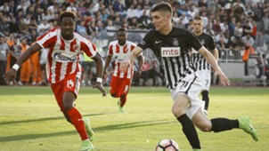 Richmond Boakye of Red Star Belgrade, Nikola Milenkovic of Partizan