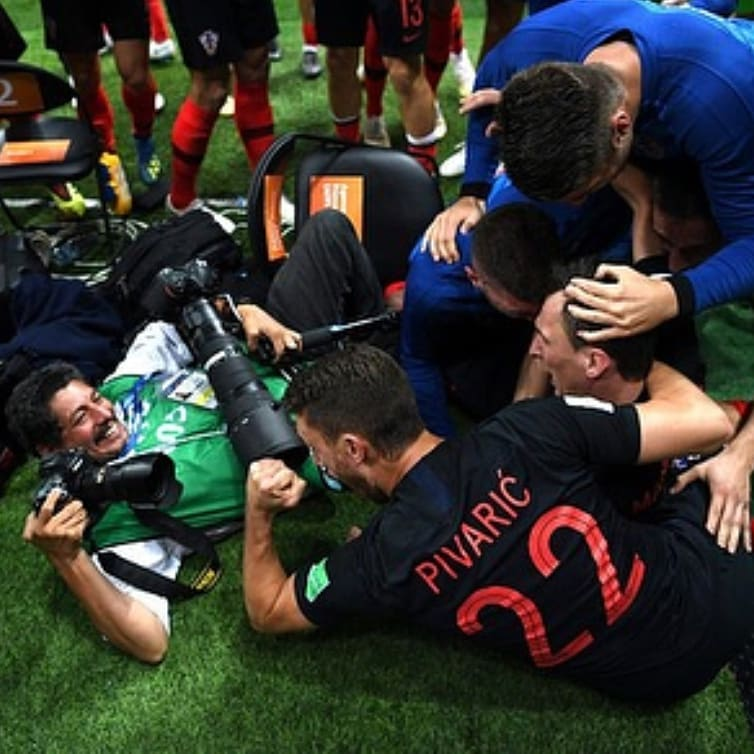 Croatia players celebrating vs England World Cup