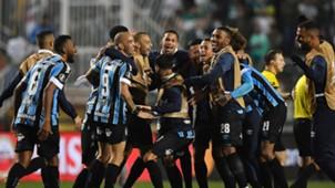 Jogadores comemoram classificação Palmeiras Grêmio Libertadores 27082019