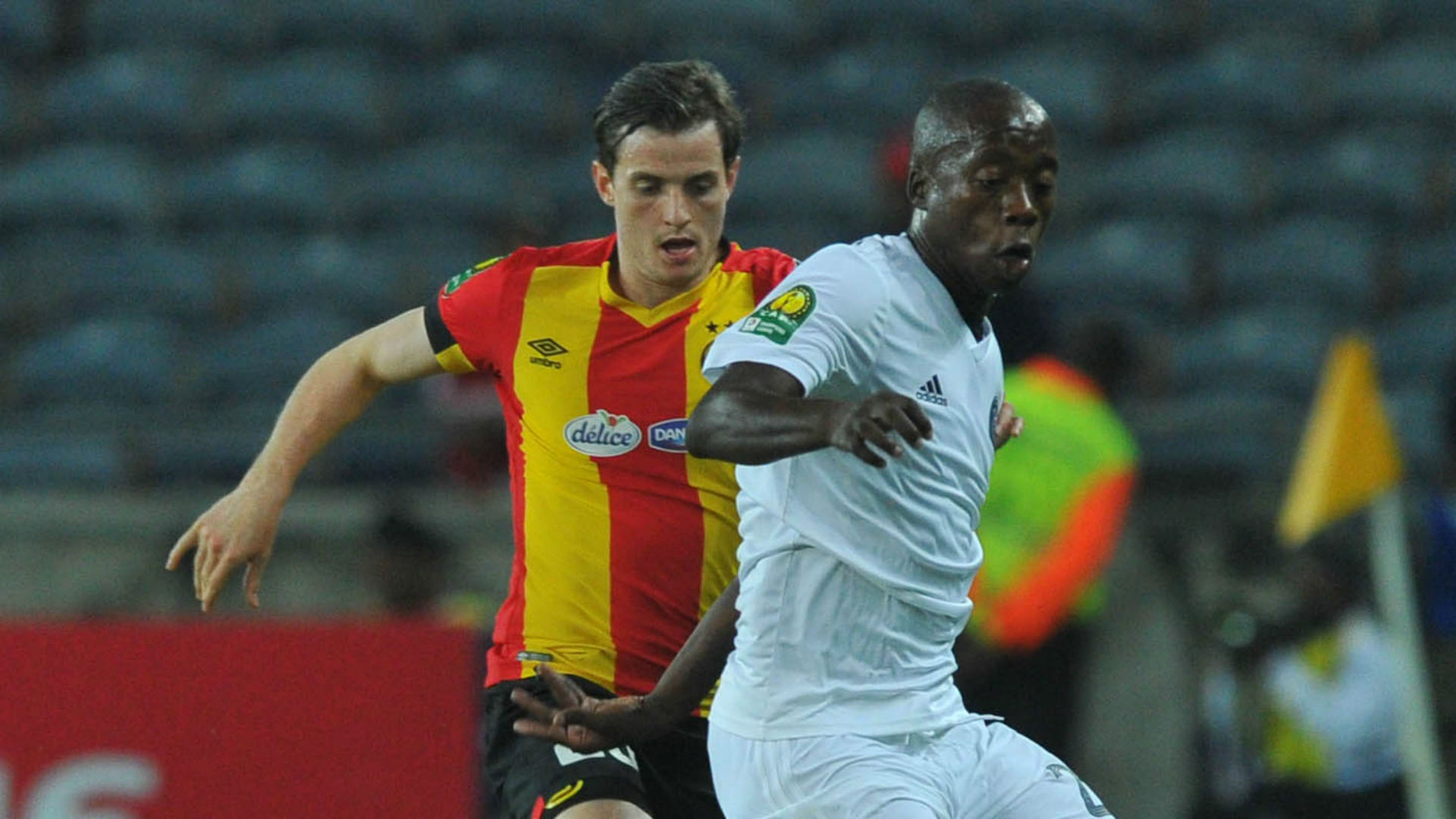 Ayman Ben Mohamed of Esperance challenged by Ben Motshwari of Orlando Pirates, February 2019