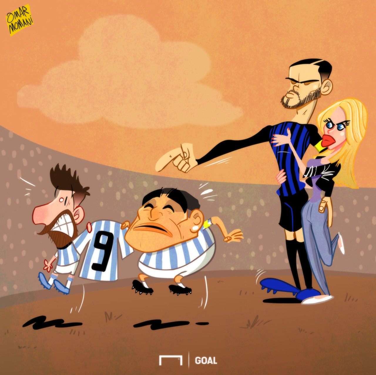Messi, Icardi & Maradona Cartoon