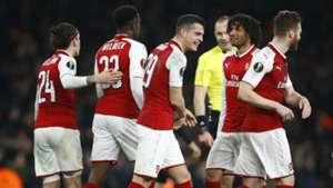 Arsenal celebrating Arsenal Milan UEFA Europa League 03152018