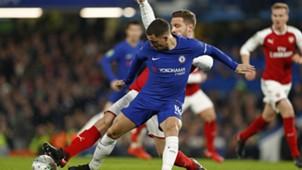 Hazard Mustafi Arsenal Chelsea Carabao Cup 01102018