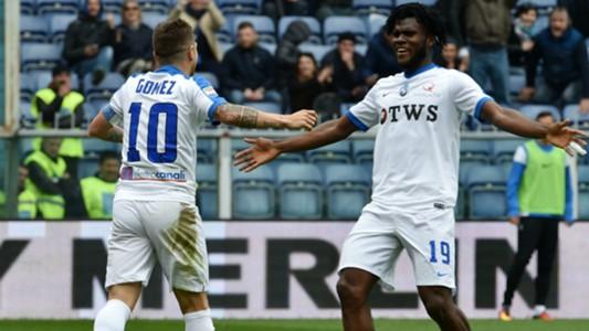 Alejandro Gomez and Franck Kessiè celebrating Genoa Atalanta Serie A 02042017