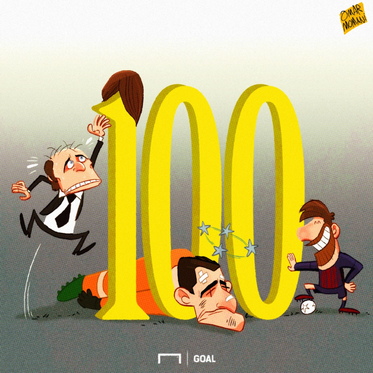 CARTOON: Messi hits 100 UCL goals