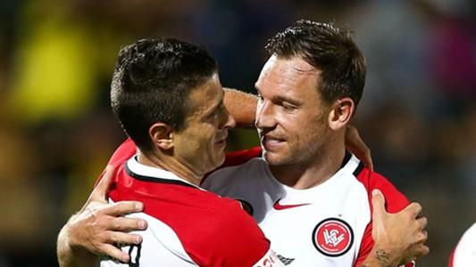 Nicolas Martinez Brendon Santalab Wellington Phoenix v Western Sydney Wanderers A-League 04022017