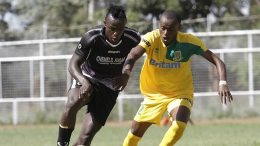 Victor Majid of Chemelil Sugar v Daniel Mwaura of Mathare United.