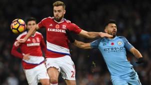 Calum Chambers Middlesbrough Sergio Aguero Manchester City Premier League