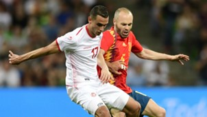 Andres Iniesta Ellyes Skhiri Spain Tunisia friendly 2018