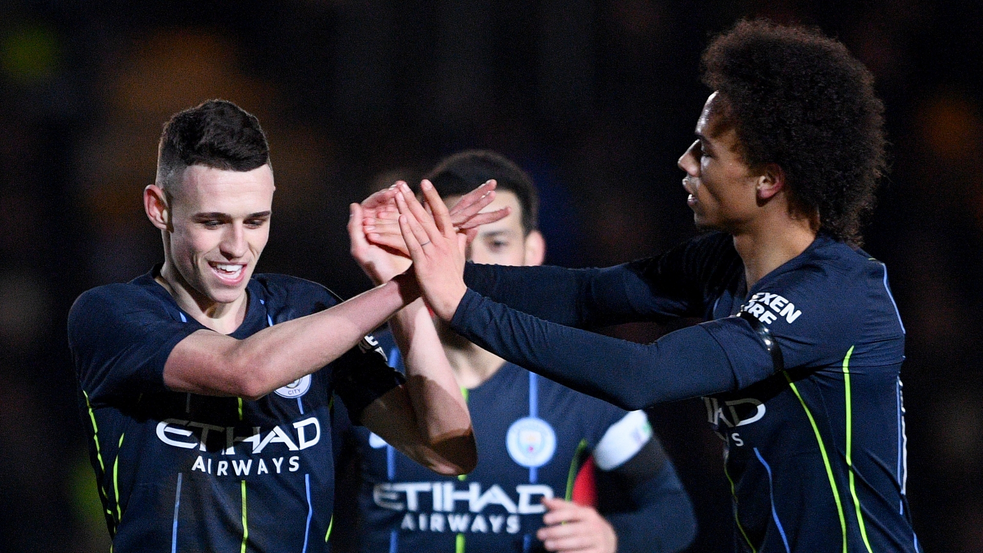 Phil Foden, Leroy Sane, David Silva, Man City