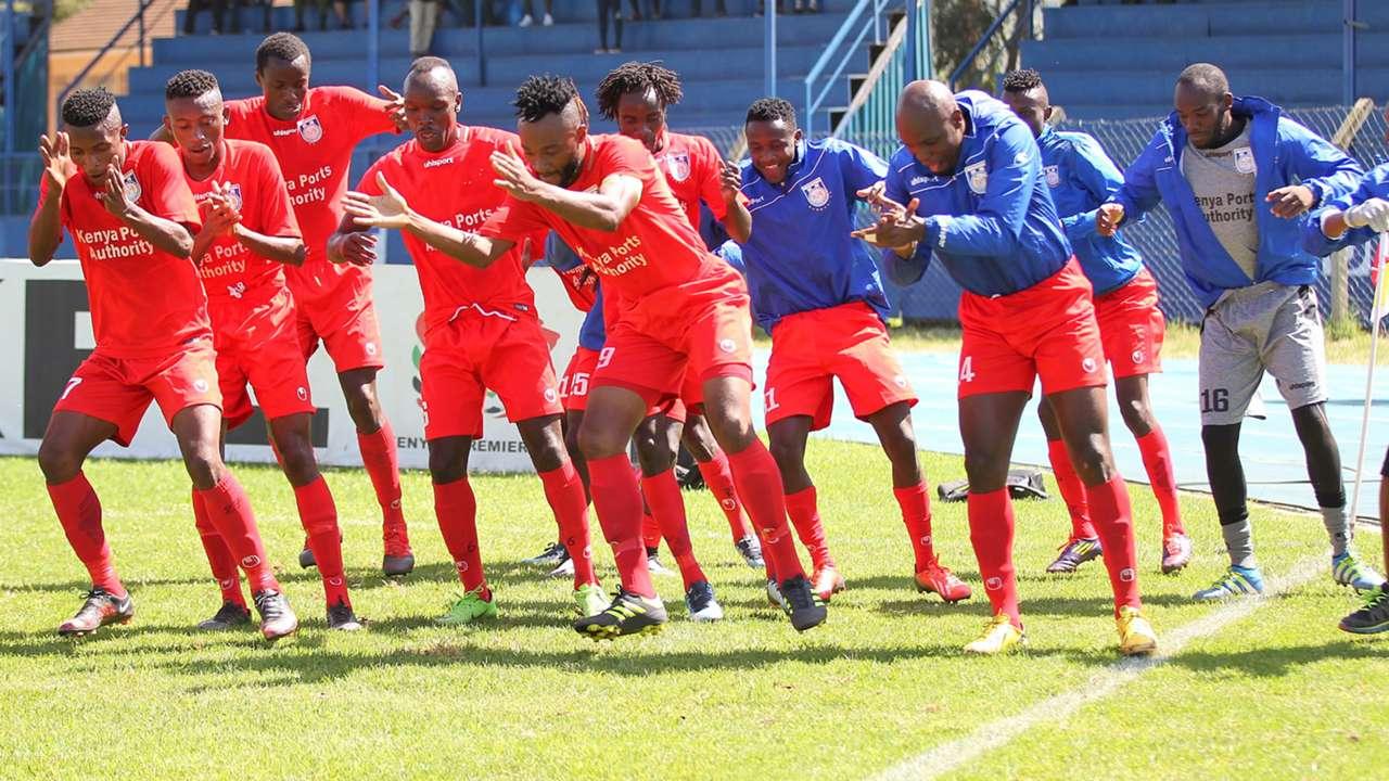 Bandari players celebrate.