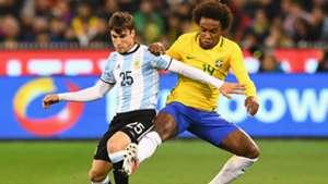 Nicolás Tagliafico Willian Silva Brasil Argentina Friendlies 09062017