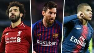 Mohamed Salah Lionel Messi Kylian Mbappe