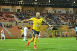 Negeri Sembilan's Bruno Junichi Suzuki Castanheira celebrates his goal against Sabah 2017