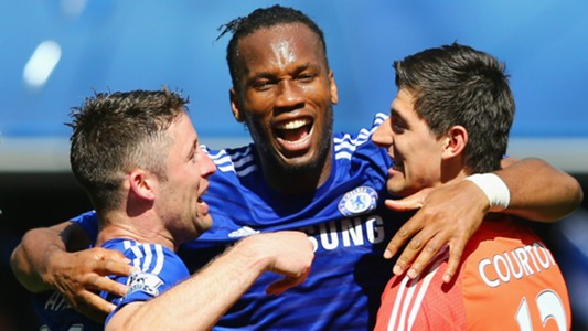 Gary Cahill Didier Drogba Thibaut Courtois Chelsea Premier League