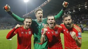 Aaron Ramsey Wayne Hennessey Gareth Bale Joe Ledley Bosnia Wales 10102015