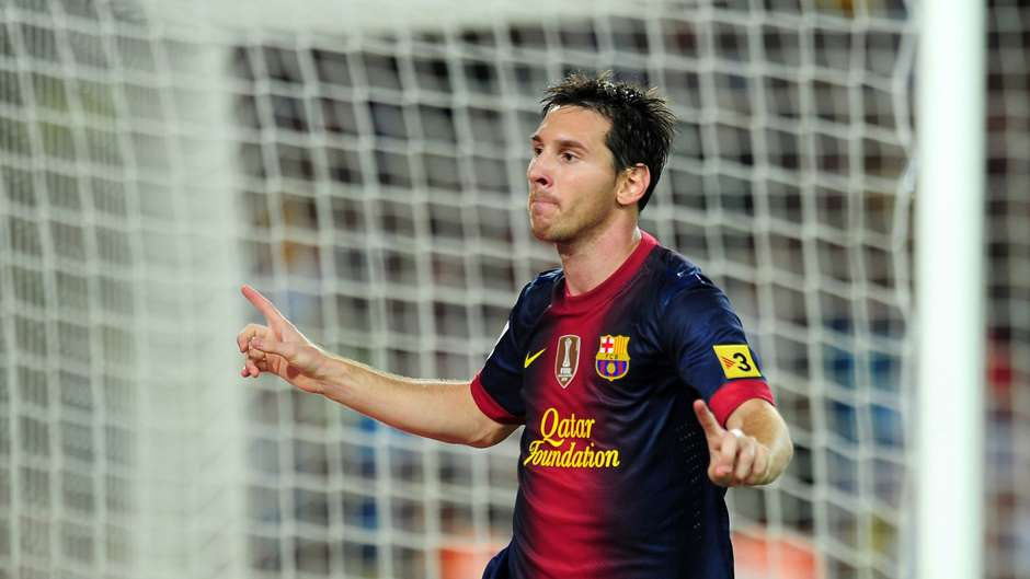 Lionel Messi Barcelona Real Madrid 2012 celebrates