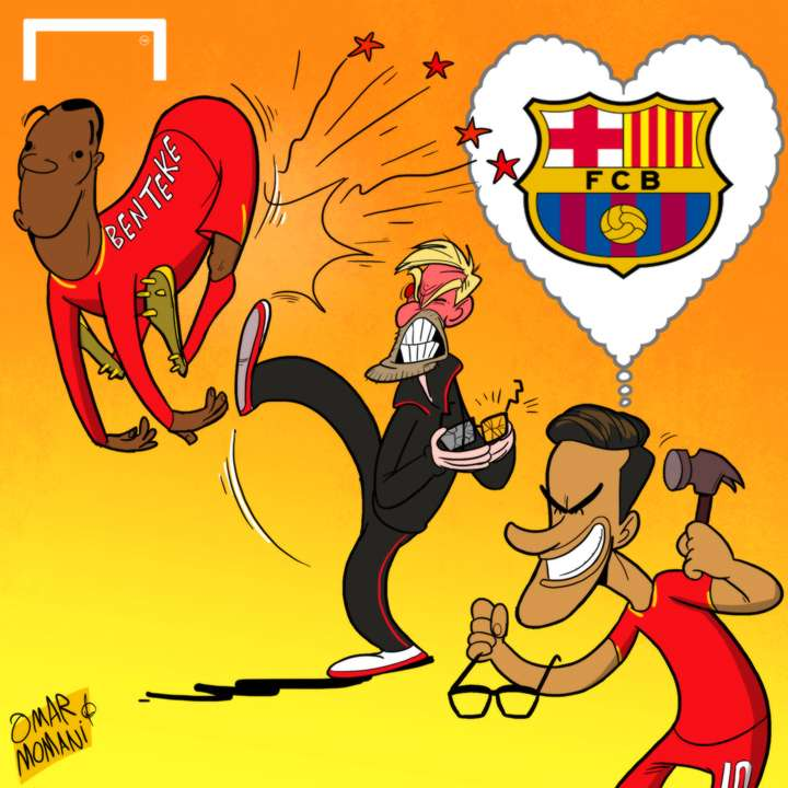 Cartoon Coutinho Benteke Klopp Liverpool