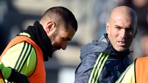 Zinedine Zidane Benzema Real Madrid Training