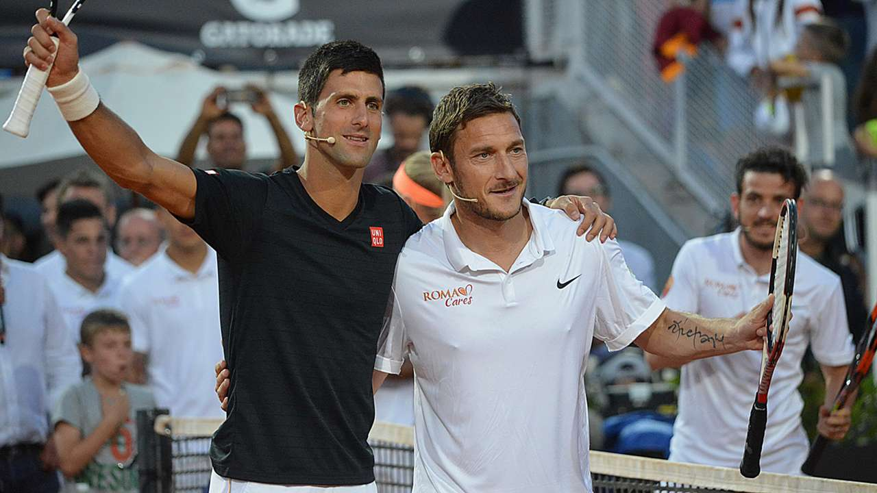 Francesco Totti Tennis with the stars charity match Novak Djokovic