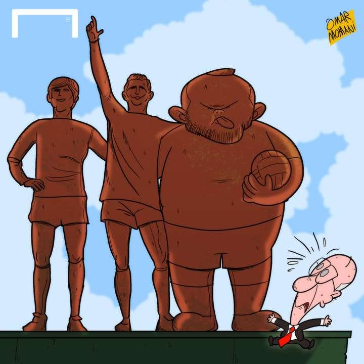 CARTOON Rooney's 250 statue