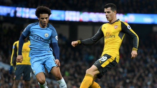 Granit Xhaka Premier League Man City v Arsenal