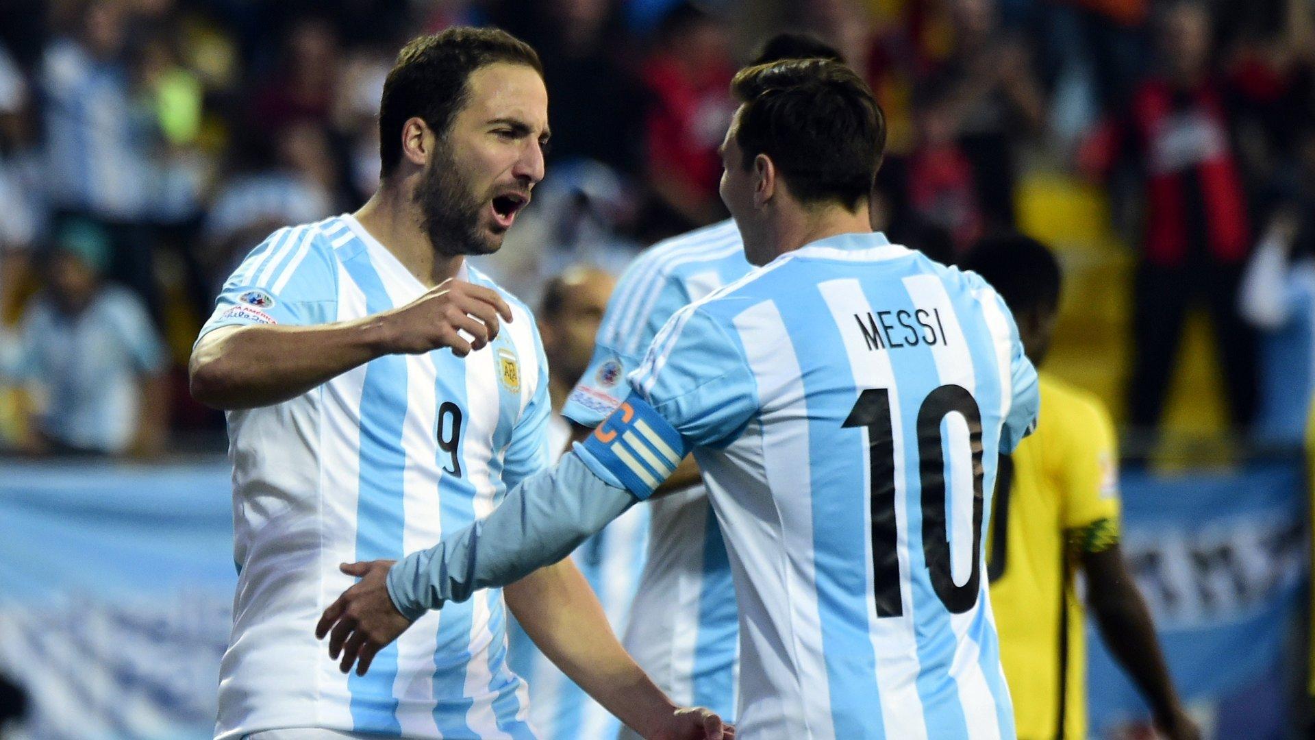 Gonzalo Higuain and Lionel Messi Argentina