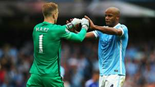 Vincent Kompany Joe Hart Manchester City 16082015