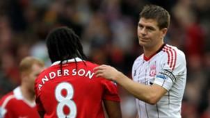 Anderson & Steven Gerrard Premier League Man Utd v Liverpool
