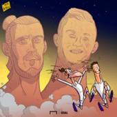 Cartoon Gareth Bale and Cristiano Ronaldo Scary Busts