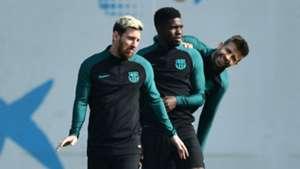 Lionel Messi Samuel Umtiti Gerard Pique Barcelona 18102016