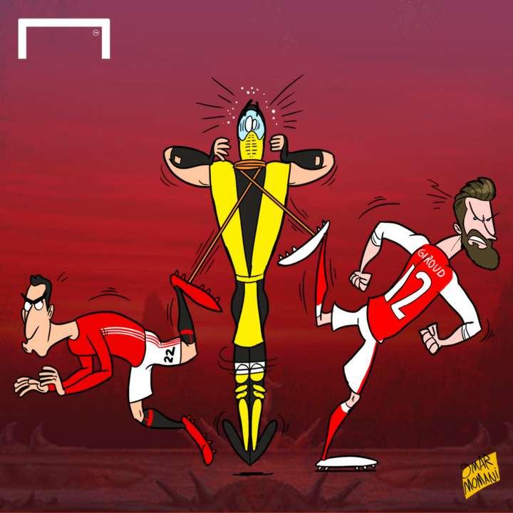Giroud & Mkhitaryan scorpion kicks