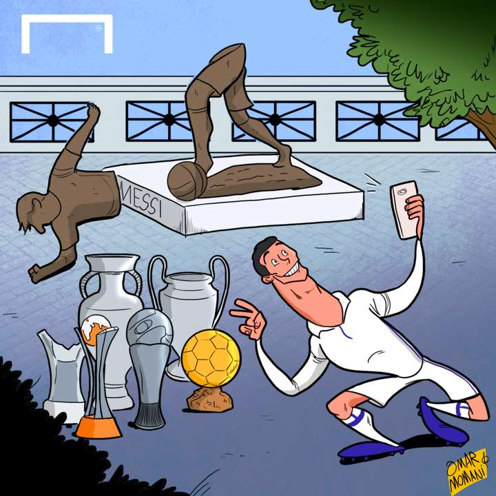 Cristiano Ronaldo Lionel Messi statue cartoon
