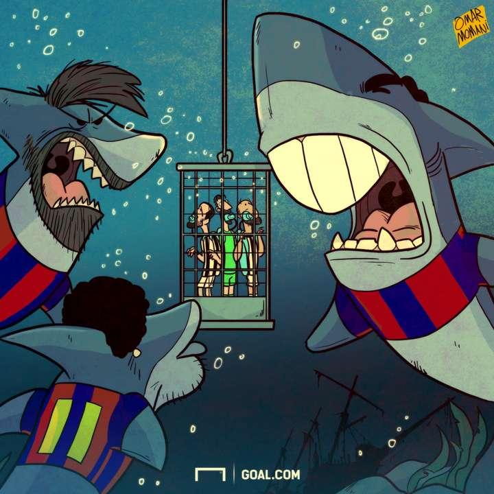 Barcelona Sharks Cartoon