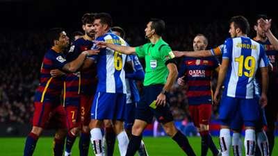 Luis Suarez argues in Barcelona's clash with Espanyol