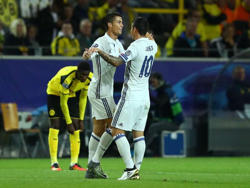 Image result for Cristiano Ronaldo with James Rodriguez