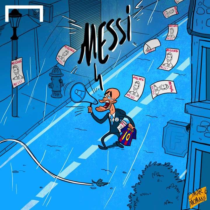 Pep Guardiola Messi lost cartoon