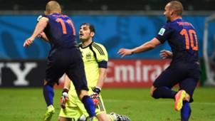 Iker Casillas Wesley Sneijder Arjen Robben Netherlands Spain World Cup 2014
